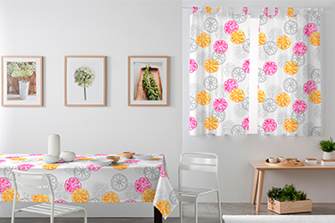 Mantel+cortina visillo; Lemon fucsia min